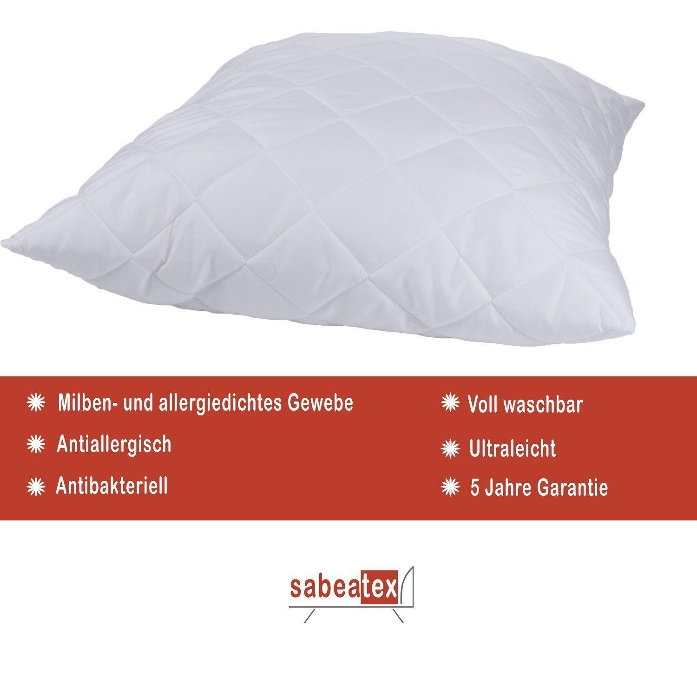 sabeatex kopfkissen schlafkissen f r allergiker 80x80 cm waschbar bis 95 c ebay. Black Bedroom Furniture Sets. Home Design Ideas